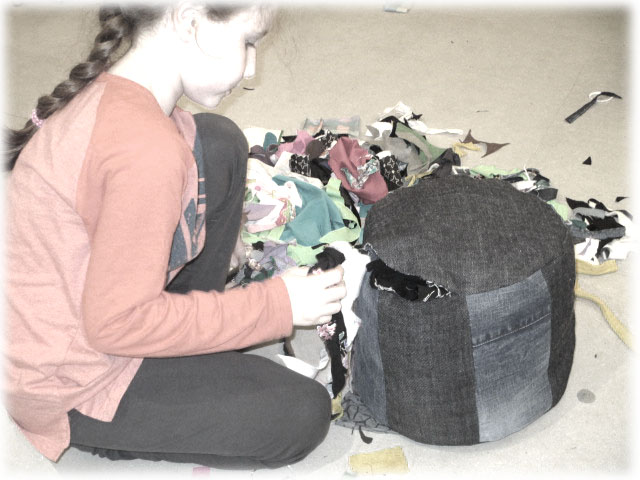 sewing a pouf